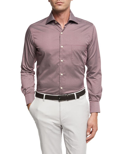 Single Flame Cotton Sport Shirt, Wine