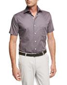 Glass Half Full Short-Sleeve Cotton Sport Shirt, Navy