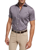 Petite Fleur Short-Sleeve Sport Shirt, Purple