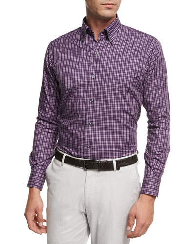 Autumn Check Cotton Sport Shirt, Purple