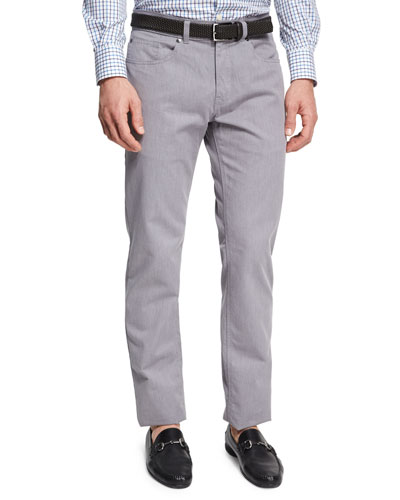 Melange Denim Straight-Leg Jeans, Light Gray