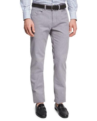 Melange Denim Straight-Leg Jeans, Light Gray