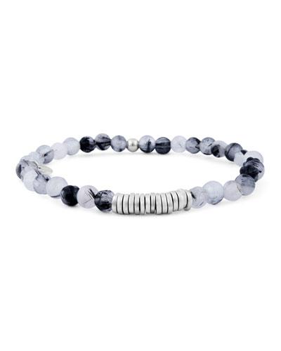 Men's Round Rutilated Quartz Beaded Bracelet
