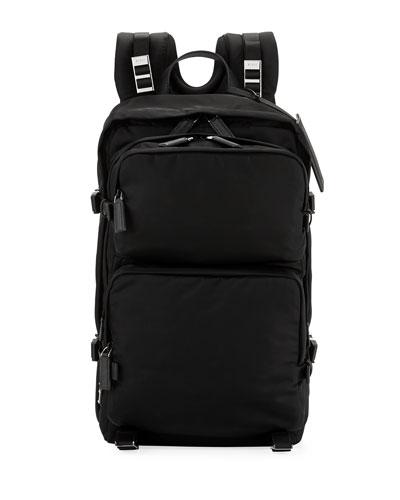 Multi-Pocket Nylon Backpack