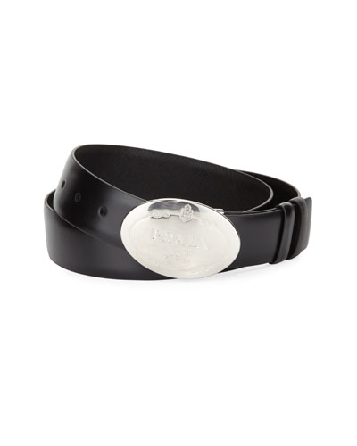 Reversible Saffiano & Vitello Plaque Belt