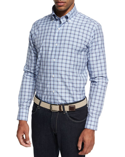 Collection Santorini Check Sport Shirt, Light Blue