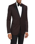 M Line Peak-Lapel Dinner Jacket, Merlot