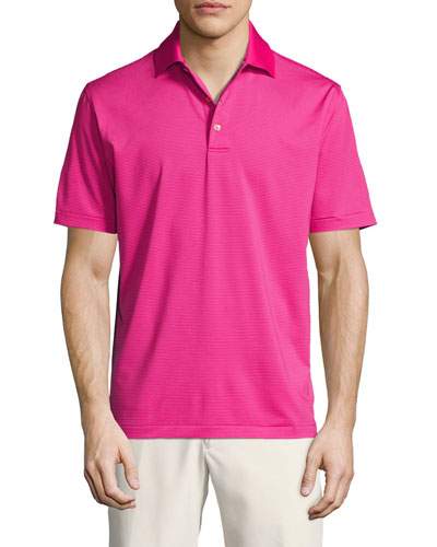 Crown Sport Halford Striped Performance Polo Shirt, Pink