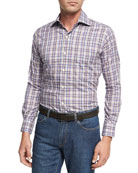 Destination Melange Plaid Sport Shirt, Purple