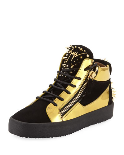 Men's Studded Suede & Metallic Leather High-Top Sneakers
