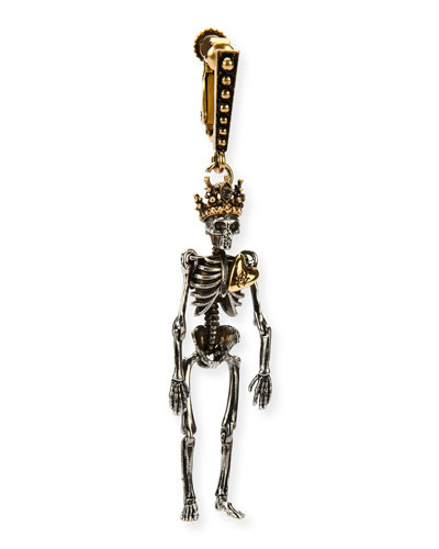 Queen Skeleton Clip-On Dangle Earring