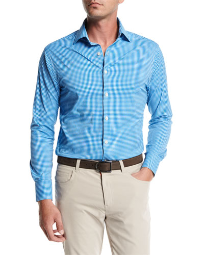 Crown Sport Statler Performance Check Shirt, Yankee Blue