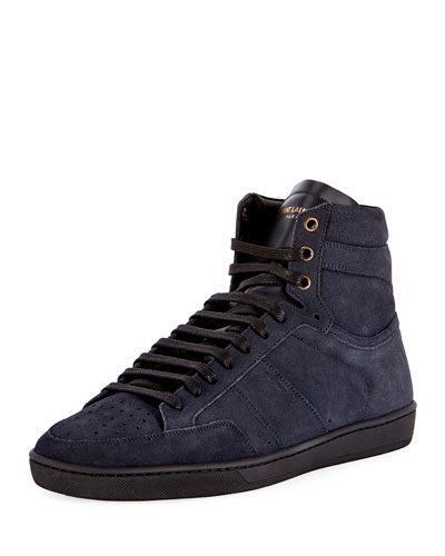 SL/10H Men's Signature Court Classic Suede High-Top Sneakers, Navy