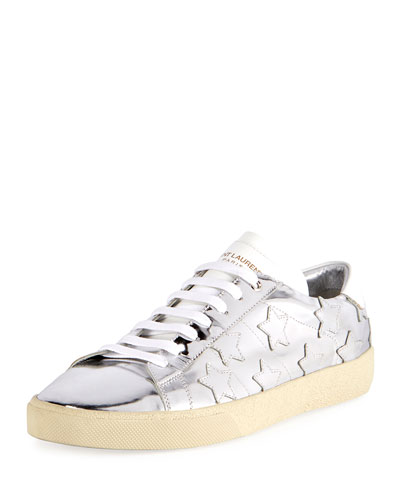 Signature Court Classic Men's Metallic Leather Star Sneaker, Silver