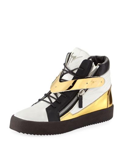 Colorblock Leather Zip Sneaker, White