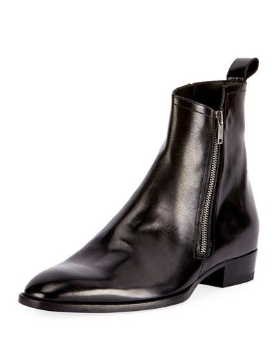 Wyatt 30 Side-Zip Leather Ankle Boot, Black