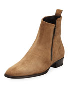 Wyatt 30 Side-Zip Suede Ankle Boot