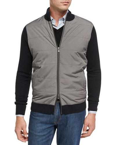 Patterson Full-Zip Melange Sweater, Black