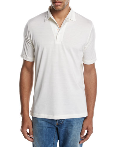 Cotton-Silk Polo Shirt, White