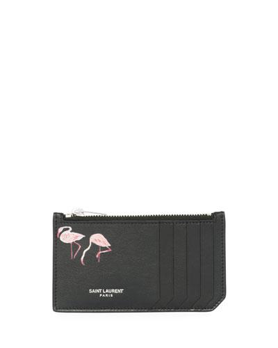 Fragment Flamingo-Print Leather Zip Card Case, Black