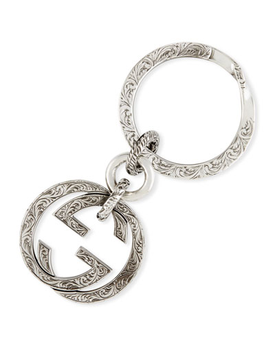 Interlocking G Sterling Silver Key Ring