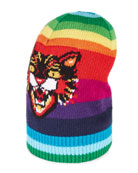 Striped Wool Hat with Angry Cat