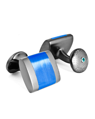 Freeway Contrast-Inset Cuff Links, Blue