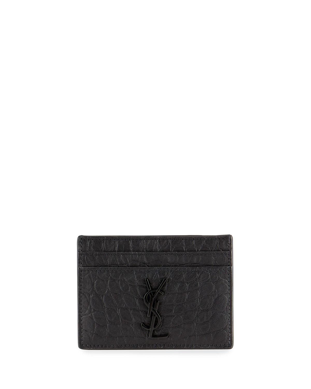 Saint Laurent YSL MONOGRAM CROC-EMBOSSED LEATHER CARD CASE, BLACK