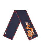 Silk-Cashmere Scarf with Dragon