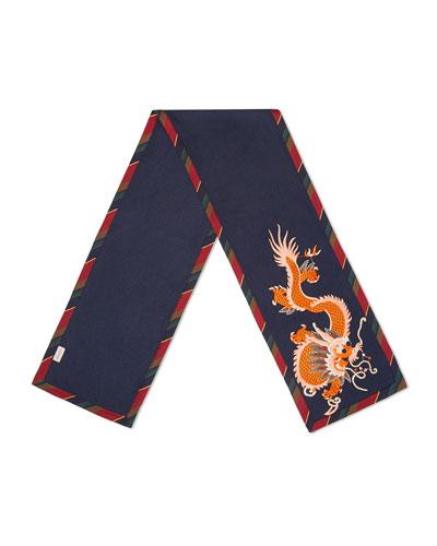 Silk-Cashmere Scarf with Dragon