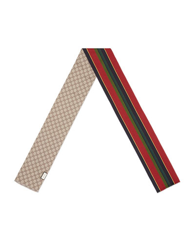 Little River Striped Guccissima Scarf, Red/Blue
