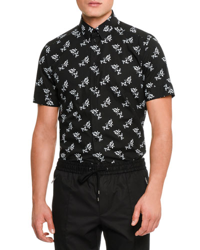 Floral-Print Short-Sleeve Cotton Shirt, Black