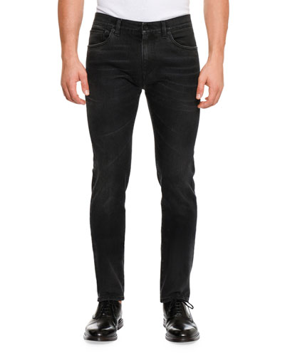 Basic Stretch Denim Slim-Fit Jeans, Black