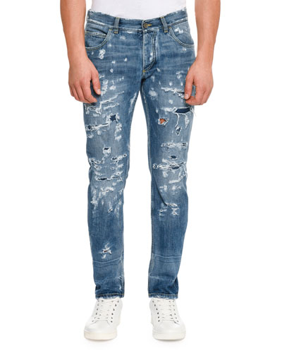Distressed Slim-Fit Jeans, Blue