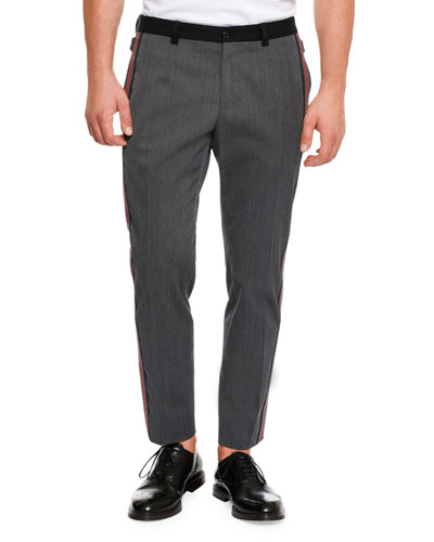 Wool Side-Stripe Pants, Dark Gray