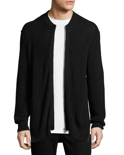Cotton-Linen Zip-Front Cardigan, Black