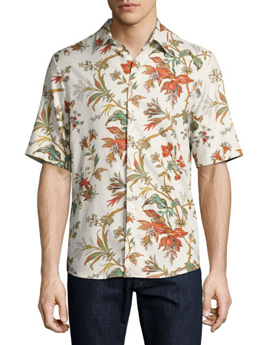 Floral-Print Short-Sleeve Shirt, Off White