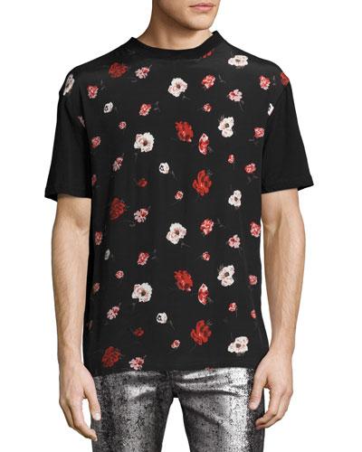 Floral-Print Crewneck T-Shirt, Black