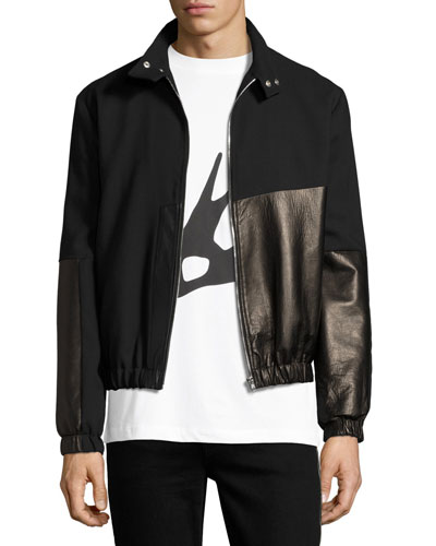 Virgin Wool & Leather Bomber Jacket, Black