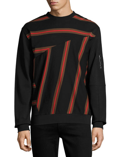 Pieced-Stripe Cotton Pique Sweatshirt, Black