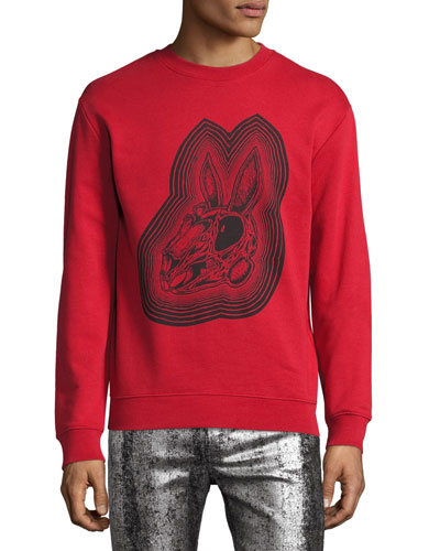 Crazy Bunny Cotton Sweatshirt, Red