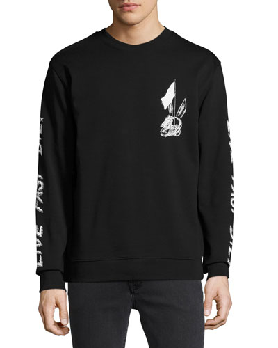 Bunny Skulls Long-Sleeve Cotton T-Shirt, Black