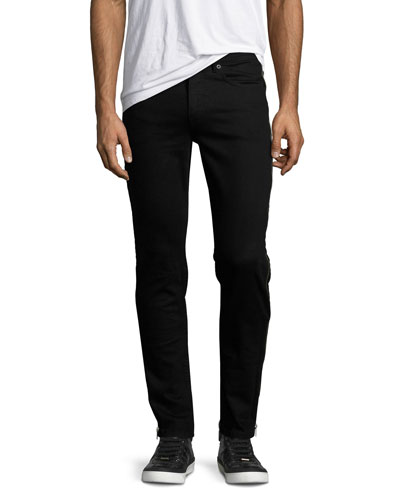 Side-Zip Denim Skinny Jeans, Black