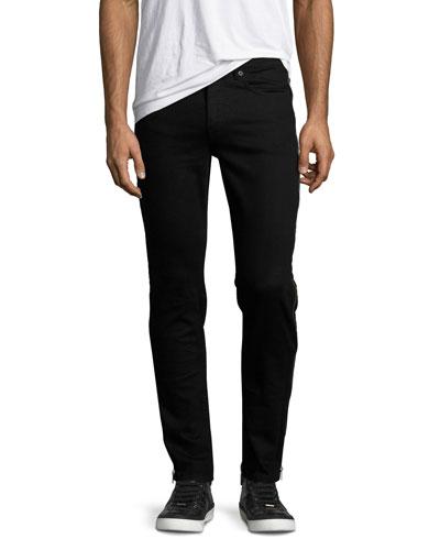 Side-Zip Denim Skinny Jeans, Black