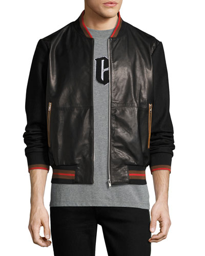 Leather Striped-Trim Bomber Jacket, Black