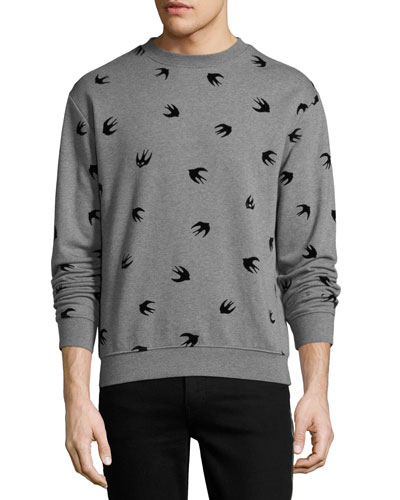 Swallow-Print Cotton Sweatshirt, Gray