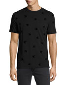 Tonal Swallow-Print Cotton T-Shirt, Black