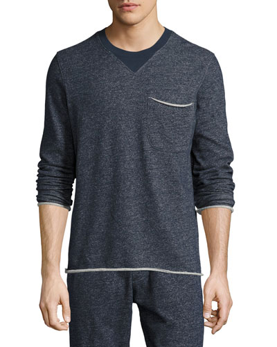 Brushed-Back Terry Raw-Cut Sweatshirt, Navy