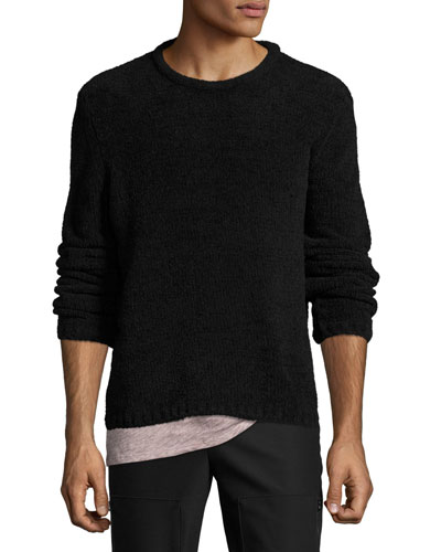 Chenille Crewneck Sweater, Black
