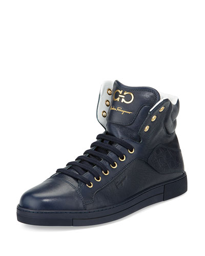 Calfskin High-Top Sneaker, Navy